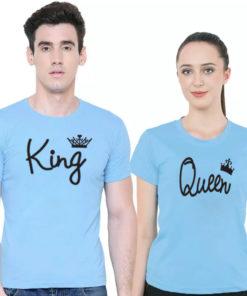 ক্যাজুয়াল স্টাইল King এন্ড Queen প্রিন্ট কাপল কটন টি শার্ট 5311
