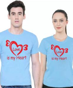 Love is My Heart প্রিন্ট ফ্যাশনেবল কাপল কটন টি শার্ট 5317