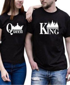 ক্যাজুয়াল ওয়্যার King এন্ড Queen প্রিন্ট সফট কটন কাপল টি শার্ট 954