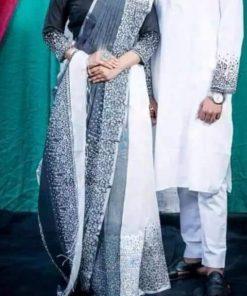 ম্যাচিং সাদা কালার প্রিন্টেড হাফ সিল্ক শাড়ি এন্ড ধুপিয়ান পাঞ্জাবি কাপল সেট