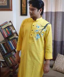 ছেলেদের আকর্ষণীয় হলুদ হাফ সিল্ক ব্লক প্রিন্ট পাঞ্জাবি
