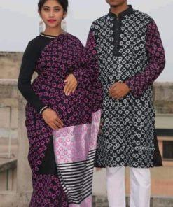 নজর কাড়া ব্লক ডিজাইন মাল্টি কালার ধুপিয়ান সিল্ক শাড়ি ও পাঞ্জাবি কাপল সেট